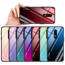 Protective Case For OnePlus 6T 6 Tempered Glass Gradient Case one plus 1+6 1+6T Back Cover Case For OnePlus 6T 7 Pro Phone Cover