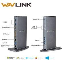 Wavlink 6 USB 3.0 Universal Laptop Docking Station Aluminum Alloy Dual Video HDMI and DVI Gigabit Ethernet Docking Station HDMI
