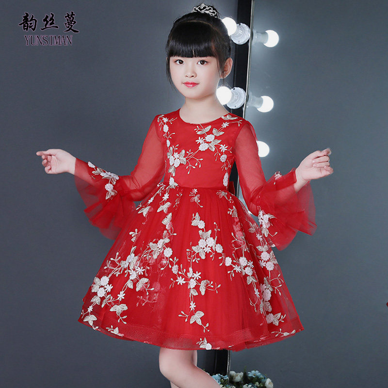 New Kids Dresses for Girls 4 6 8 10 to 12 Years Flower Embroidery Flare Sleeve Elegant Party Dress Girls Clothes Fall 2018 51A2A купить в Москве 2019