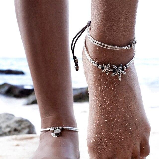 Black Rope Starfish Anklet Bracelet Women Boho Shoes Barefoot Sandals Beach Wedding Pool Bohemian Anklets