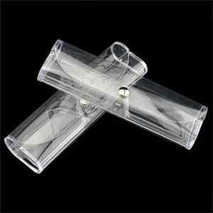 Óculos Caso Titular Para Óculos de Leitura De Vidro Durável Branco Botão Transparente Óculos Caixa De Vidro Caixa de OPP