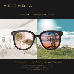 Image 4 - Veithdia ブランドヴィンテージデイナイトデュアルレディースサングラス偏光ミラーレンズ猫目フォトクロミックサングラス女性のための 8520