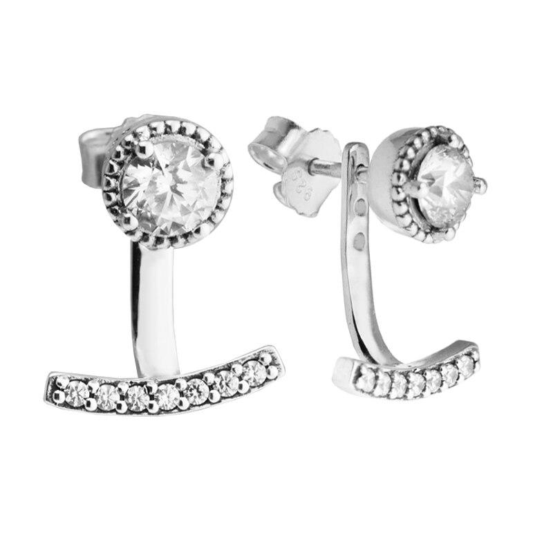 cf8777c25 Abstract Elegance Earrings 100% 925 Sterling Silver Clear CZ Stud Earrings  for Women DIY Fine Jewelry free shipping PFE083-in Earrings from Jewelry ...