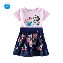 JUXINSU Toddler Summer Cute Girl Flower Wave Cotton Dress Baby Girls Casual Dresses for Your Little 1-6 Years