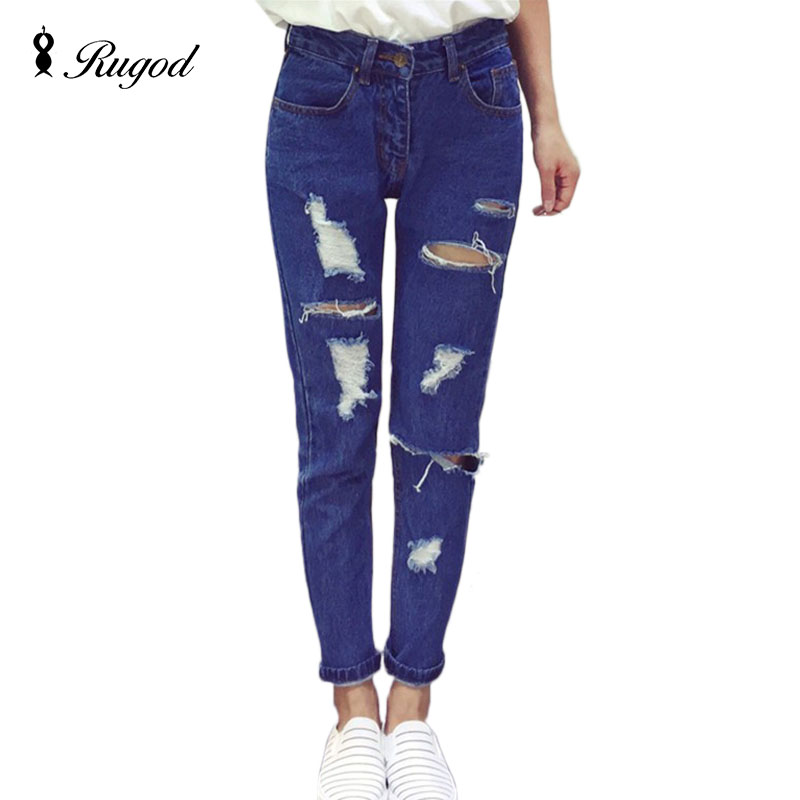 2016 New Fashion Ripped Holes Jeans Women Cool Denim Vintage Full Length jeans for Girl Mid