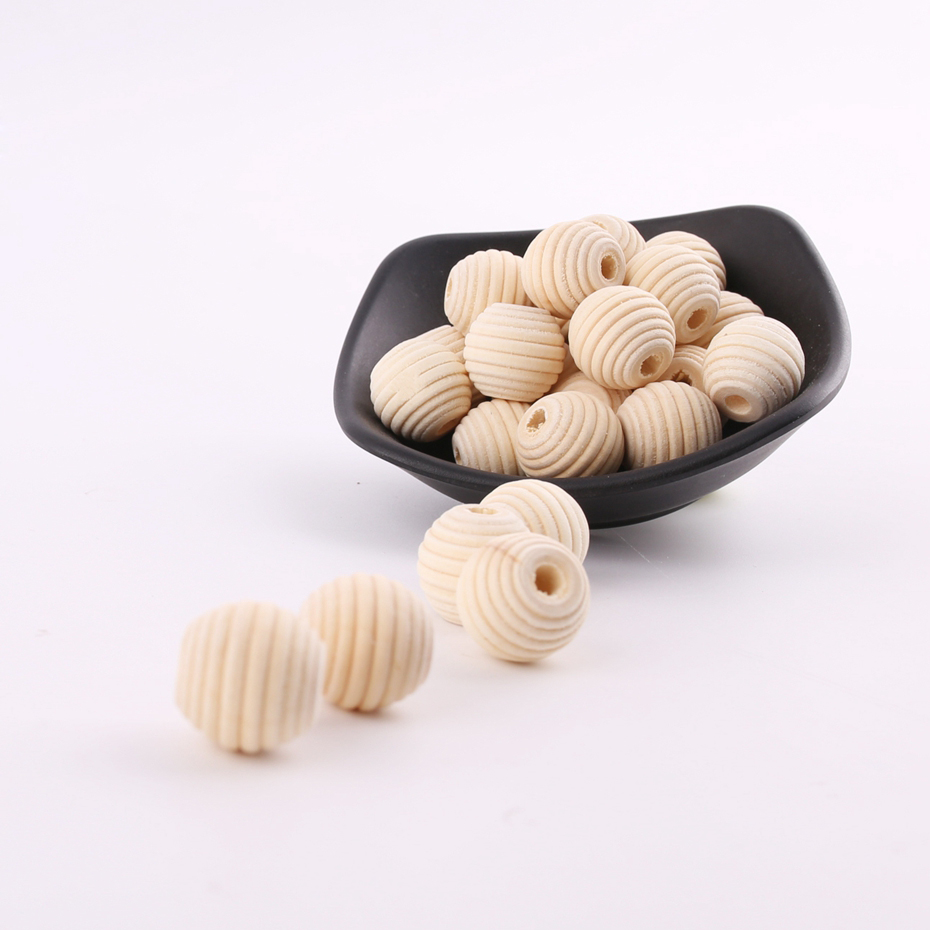 Lets Make DIY Crafts Tooth Care 15Pcs 18mm Thread Wood Beads DIY Kids Toys Spacer Beading Bead Baby Nursing Accessories Toys