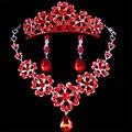 2016 Новый элегантный романтический корона ювелирные наборы crystal ожерелье серьги головной убор свадебные женщины свадебный подарок комплект ювелирных изделий Y0036