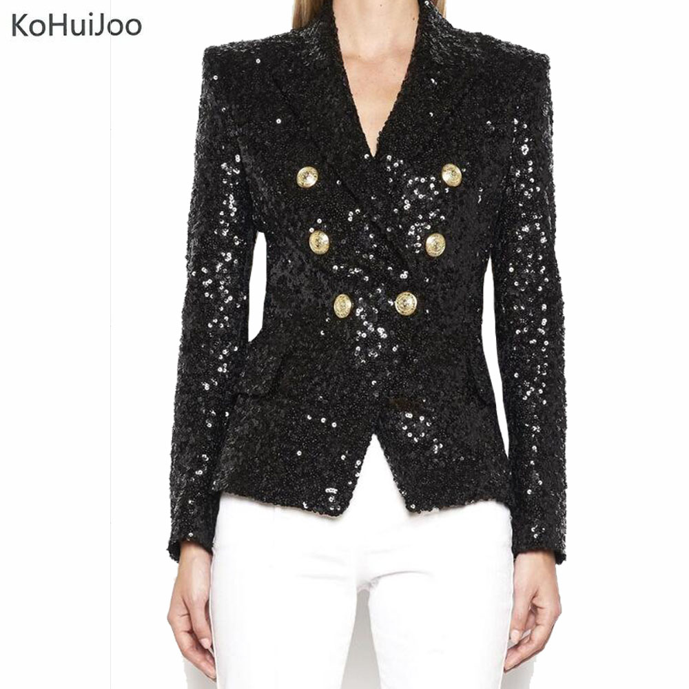 KoHuiJoo 2018 Spring Women Sequin Blazer Golden Button Long Sleeve Slim High Quality Fashion Bling Suit Jackets Female Black