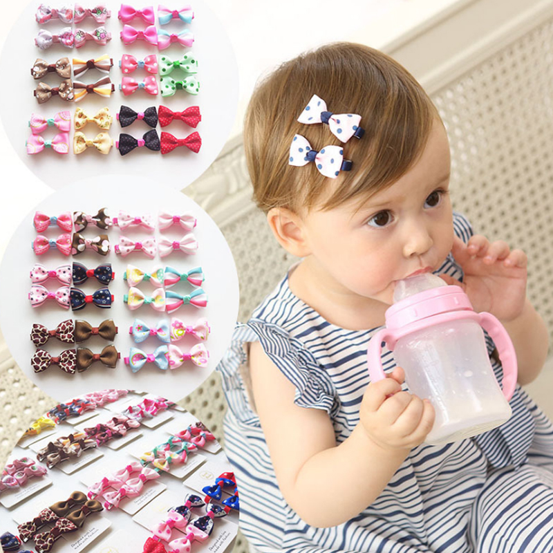 4Pcs2 Pairs Bowknot Cute Hairpin Girls Sweet Color Kids Mini Bow Hair Clips Fashion Floral Little Lovely Bowknot Hair Clips