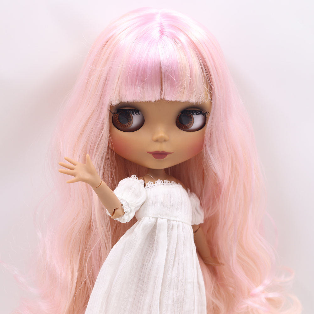 ICY Nude Blyth doll No BL1017 2352 Pink mixed hair JOINT body Black skin Matte face