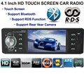 """4.1"""" Inch AUX 1 DIN RDS function touch screen support rear view camera Car MP5 Player Stereo bluetooth FM Radio Audio"""