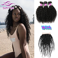 7A Brazilian Curly Virgin Hair With Closure 3 Bundles Kinky Curly Weave Human Hair With Closure Tissage Bresilienne Avec Closure