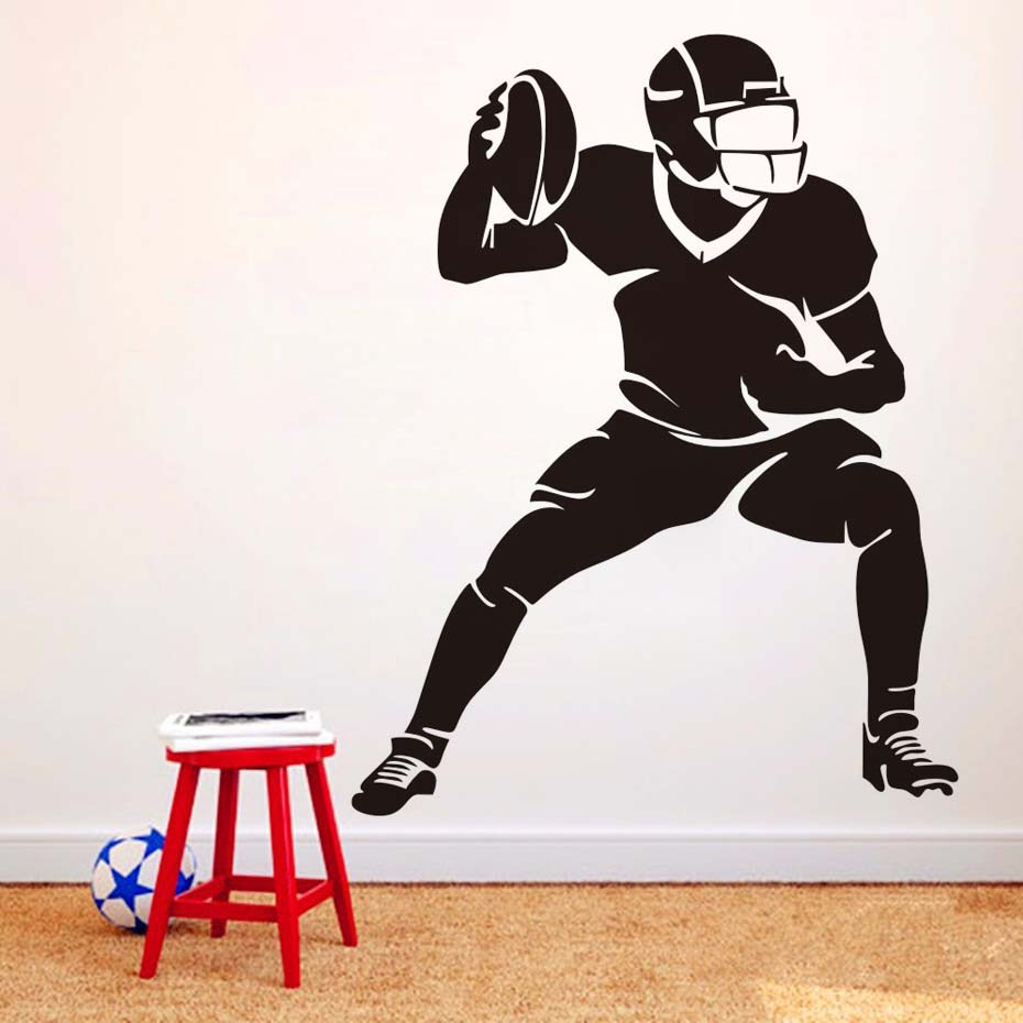 Dctop soccer player silhouette wall stickers football game sports dctop soccer player silhouette wall stickers football game sports home decor vinyl adhesive removable diy wall decals boys room in wall stickers from home amipublicfo Image collections