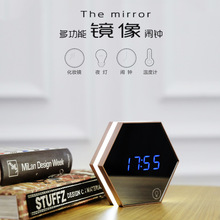 Mirror alarm clock, mirror multi-function electronic thermometer wall mini LED makeup night light  N
