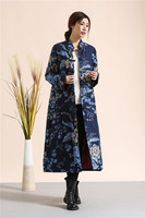 Chinese Style WomenTrench Coat Literary Double Layer Cotton Linen Long Dust Coat Winter Autumn Windbreaker Robe