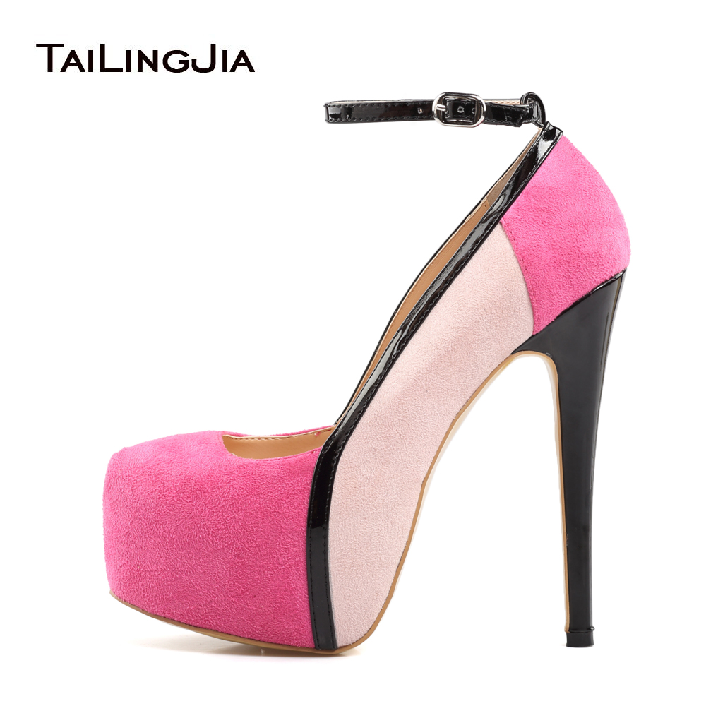 2018 Women Round Toe Platform Sky High Pumps Ankle Strap Extremely High Pole Dancing Heels Dress Heeled Cute Shoes Sexy Big Size