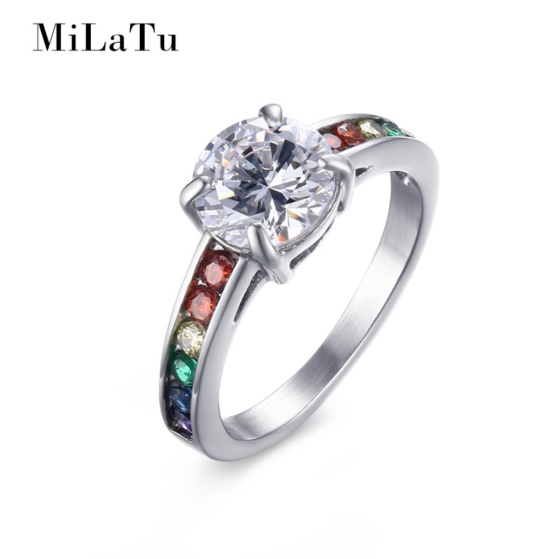 Milatu An Pride Rings Rainbow Jewelry Wedding Two Colors Stainless Steel Cubic Zirconia Ring R446g In Bands From
