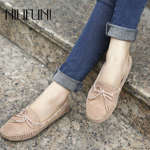 NIUFUNI 2019 Autumn Women Leather Loafers Fashion Ballet Flats Shoes Woman Slip On Bow Boat Shoes Shallow Soft Moccasins 9 colors 2018 spring women loafers fashion ballet flats sliver white black shoes woman slip on boat casual shoes moccasins s043