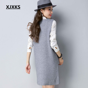 XJXKS Comfortable Spring Women Long Sweaters M-XXL High Elasticity English Letter Pockets Women Pullover Sweater