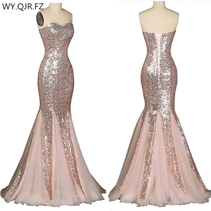 LLY188#Fishtail Paillette Red Champagne Lace Up Bridesmaid Dresses Wedding Party Prom Dress 2019 Cheap Wholesale And Customize
