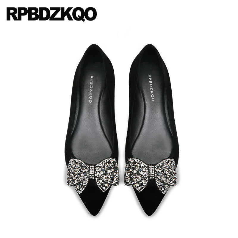 black rhinestone women flats shoes with little cute bowtie large size suede  genuine leather pointed toe 42270435317b