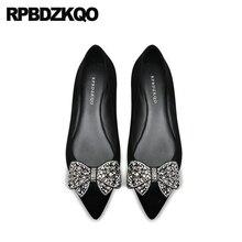 black rhinestone women flats shoes with