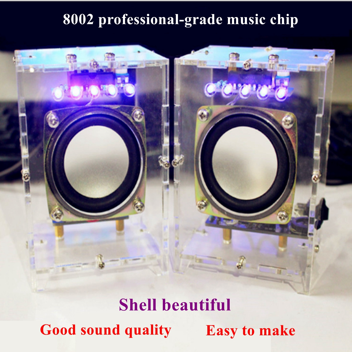 LEORY 8002 Chip LED Speaker Audiophile DIY Kits Mini Computer Speaker  Electric Spare parts CH2 0 Stereo Speaker 70x75x103mm