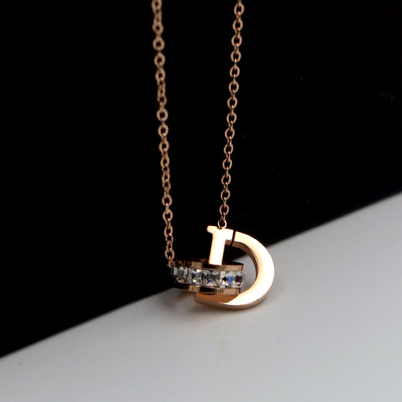 New D Letter And Crystal Annulus Interlocking Rose Gold Pendant Necklace 316 Stainless Steel High Polished Necklace For Women 5