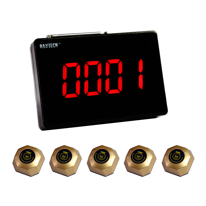 DAYTECH Pager Calling System Restaurant Wireless Service Pager Systems Table Bell Waiter 1 PC panel and 5 PCS Call Button wireless service calling system paging system for hospital welfare center 1 table button and 1 pc of wrist watch receiver