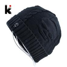 Mens Skullies Winter Hat Beanies Knitted Wool Hip Hop Stocking Hat Plus Velvet Rasta Cap Skull