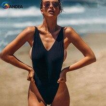 все цены на BANDEA Sexy One Piece Swimwear Women Brazilian Thong Swimsuit Solid Monokini High Cut Bodysuit Backless Maillot De Bain Femme онлайн