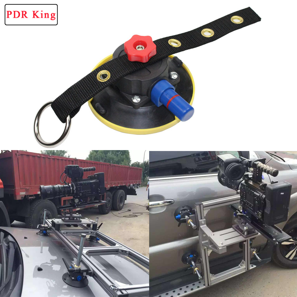 Heavy Duty 4.5 Inch Black Rubber Vacuum Suction Cup For PDR KING Lamp Stand With M6 Bolt And Adjustable Knob Nylon Blet
