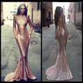 Sparkly Tight Fishtail Dark Rose Pink Sequin Prom Dress Long Sleeves Mermaid Evening Party Gown Custom Made