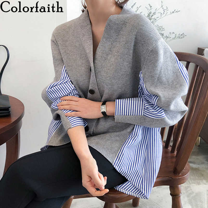 Colorfaith New 2019 Autumn Women's Sweaters Patchwork Srtiped Knitting V-Neck Cardigans Casual Single Breasted Loose Tops SW7704