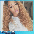 Free shipping #1b/27 color afro kinky curly synthetic lace front wig tone color black blonde ombre afro curl lace front wigs