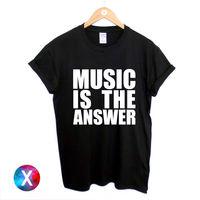 LA MÚSICA ES LA RESPUESTA Camiseta IMPRESA NEGRO NUEVO PARA MUJER PARA HOMBRE CASA Camiseta Camiseta Unisex Más Tamaño CAMISETA de la DANZA del DELIRIO y Colors-A422