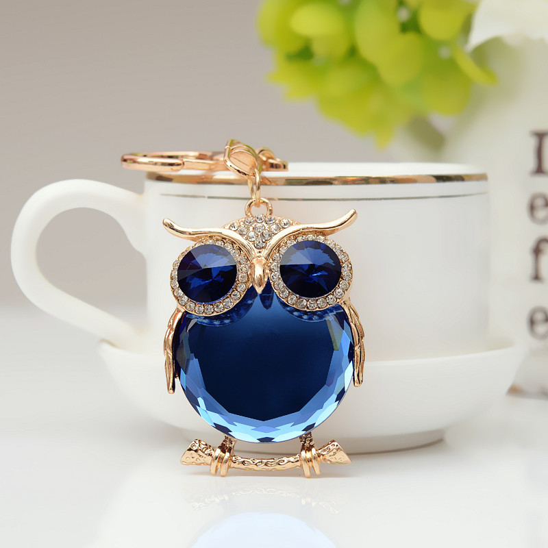 RE New Cute Owl Crystal Keychain Key Rings Rhinestone Trinket Car Keychains Holder Bag Women Pendant Jewelry Fashion Gift G40