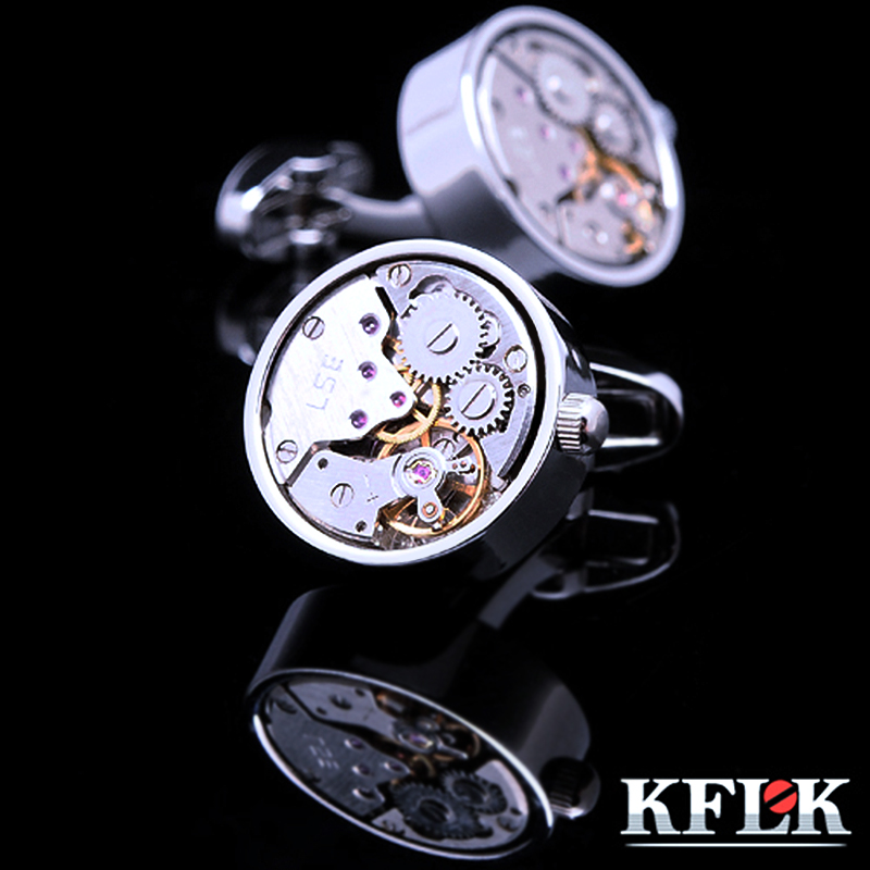KFLK jewelry shirt cufflinks for mens Brand Silver watch movement mechanical cuff links Buttons Male High Quality Free Shipping
