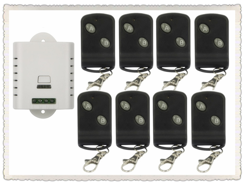 85V 110V  220V 250V 1CH Wireless Remote Control Switch 8*Transmitter with Two-button Receiver for Appliances Gate Garage Door85V 110V  220V 250V 1CH Wireless Remote Control Switch 8*Transmitter with Two-button Receiver for Appliances Gate Garage Door