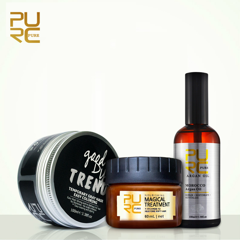PURC Hair Care Products 100ml Hair Argan Oil and Hair Color Dye Wax for Style Treatment Big Discount Hair Care Set