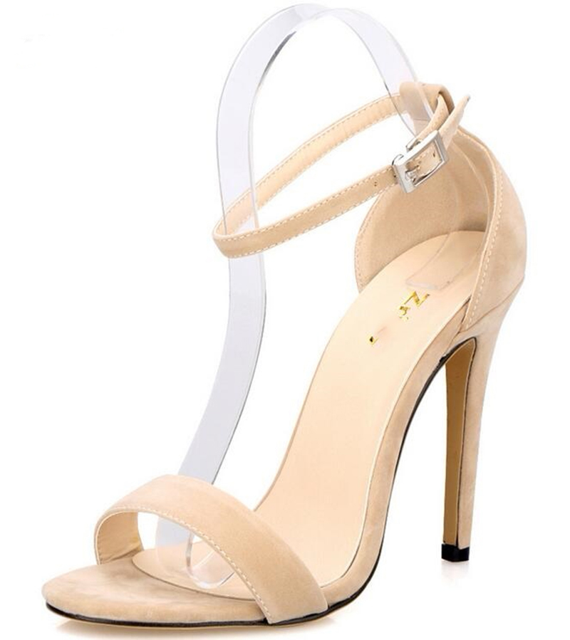 Vogue <font><b>Sexy</b></font> High Heels Ankle Strap Pumps Women Sandals Summer <font><b>Shoes</b></font> Woman Plus <font><b>Size</b></font> 26-62 Ladies Wedding Candy <font><b>11</b></font> Cm BY16861 image