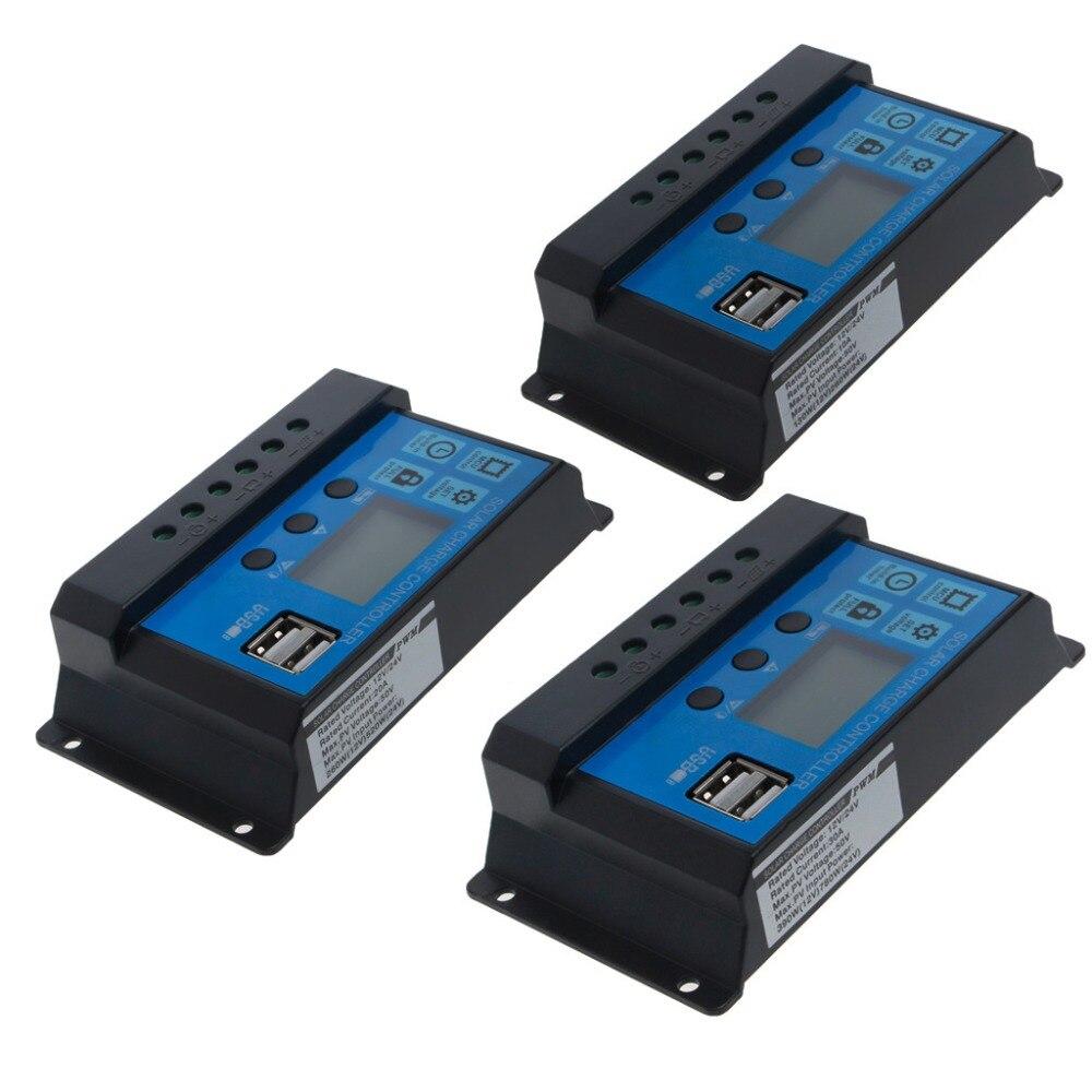 PWM/10/20/30A Dual USB de carga del regulador de la batería del Panel Solar 12 V/24 V LCD Solar los controladores