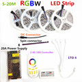 RGBW 20M 15M 10M 5M IP65 Waterproof 5050 Flexible Tape  DC12V LED Strip Light + 2.4G RF Remote Controller + Power adapter Kit