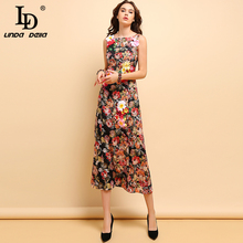 LD LINDA DELLA Fashion Runway Summer Dress Womens Sleeveless Gorgeous Floral Printed Appliques Vintage Holiday Midi Dresses