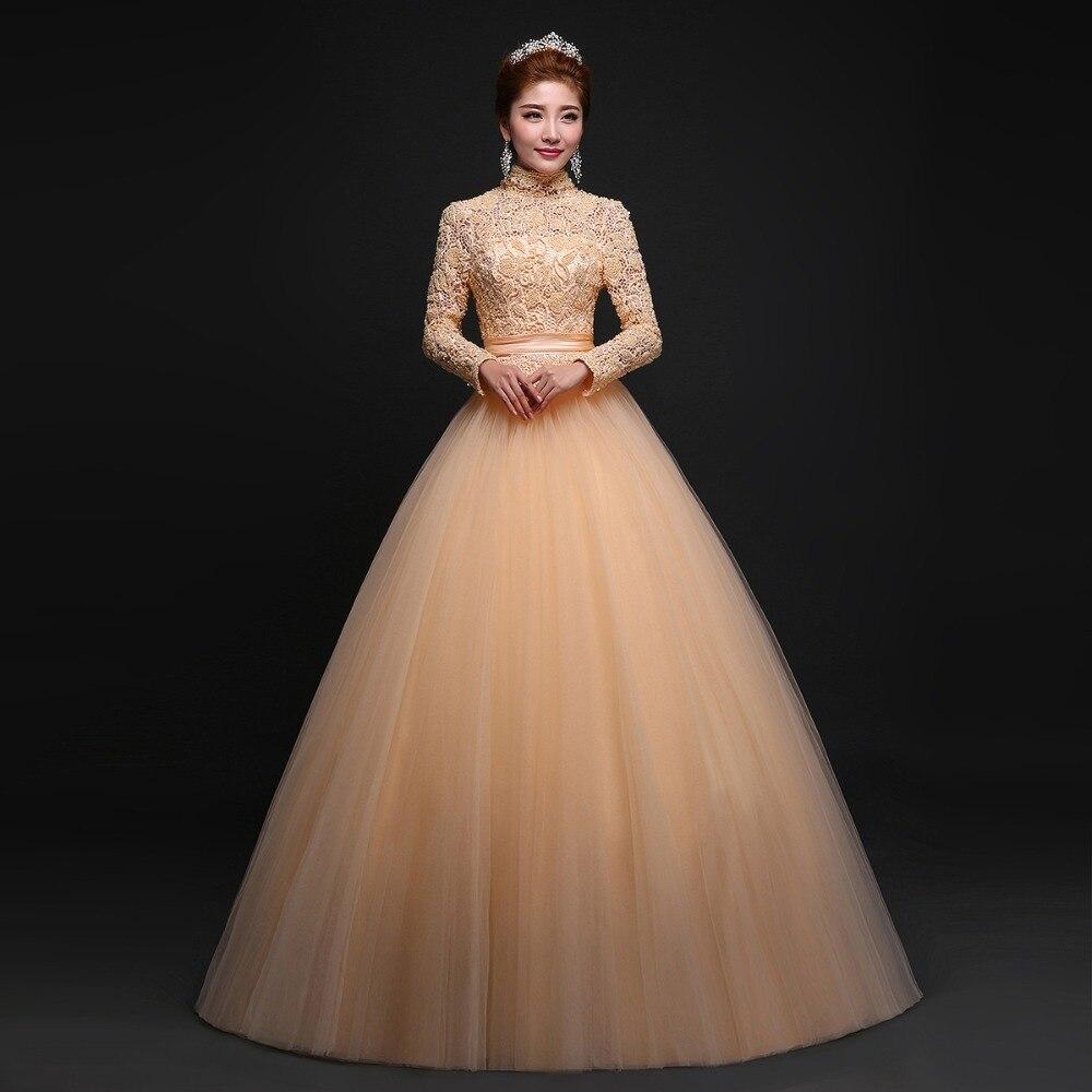 Bridal Gowns Gold Vestido De Novia Hand Made Embroidered Long Sleeve ...