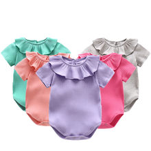8446b2a05 Summer Baby Girl Clothes Knitted Ruffles Collar Short Sleeve Cotton Baby  Rompers Infant Jumpsuits Roupas Bebe
