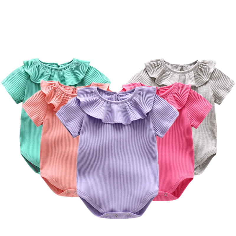 Summer Baby Girl Clothes Knitted Ruffles Collar Short Sleeve Cotton Baby Rompers Infant Jumpsuits Roupas Bebe Children Clothing 2pcs set newborn floral baby girl clothes 2017 summer sleeveless cotton ruffles romper baby bodysuit headband outfits sunsuit