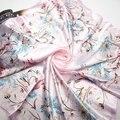 90 см * 90 см 2016 Мода Марка Женский Розовый Шарф, Женщины Полиэстер Шелковый Шарф Цветы Дизайн Атласная Большой квадратный Шарф/Шаль Для Дам