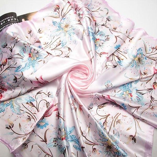 90cm*90cm 2017 Fashion Brand Female Pink Scarf,Women Polyester Silk Scarf Flowers Design Satin Big Square Scarf/Shawl For Ladies(China (Mainland))