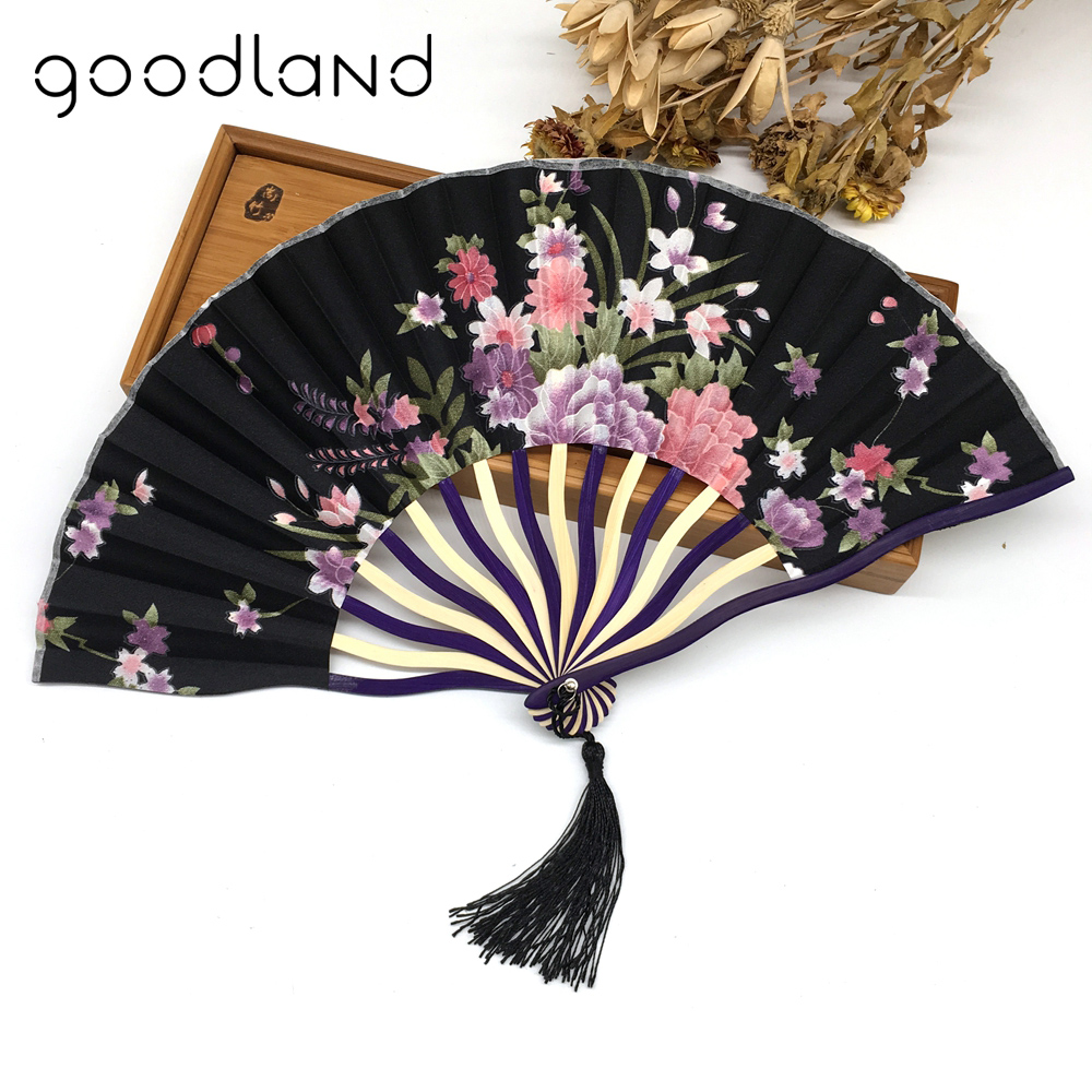 Partihandel Gratis frakt 1pcs med presentväska Bamboo Hollow Flower Hand Fan Folding Pocket Fan Wedding Decoration mariage